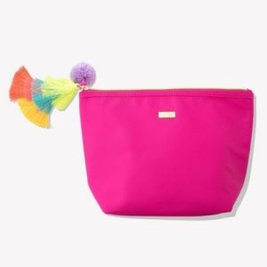 Hot Pink Tarte Makeup Case with Multicolor Tassel